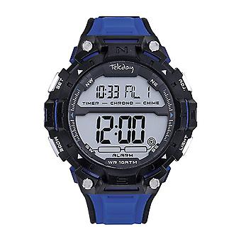 Tekday 655963 Watch - Silicone Black Box Bracelet Silicone Blue Men