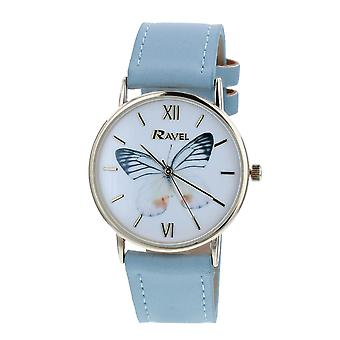 Ravel Ladies - Womens White Dial &  Blue PU Buckle Strap Watch R0135.06.2