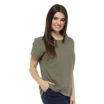 Womens Linen Lightweight T-Shirt Top With Pocket Detail