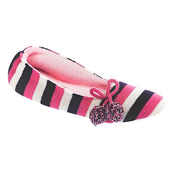 Kumfipumps Womens Dyed Stripe Knitted Ballet Slippers