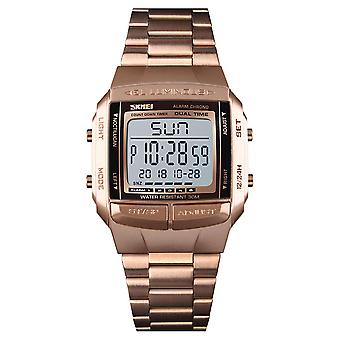 Mens Kids Digital Watch 5 Alarms Rose Gold With Stopwatch Light Countdown