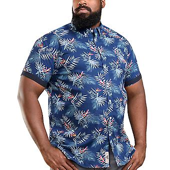 Duke D555 Mens Reuben Big Tall Short Sleeve Hawaiian Print Collared Shirt - Marine