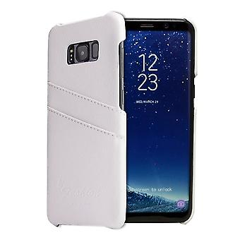 For Samsung Galaxy S8 PLUS Case,Handmade Genuine Leather Fashion Cover,White