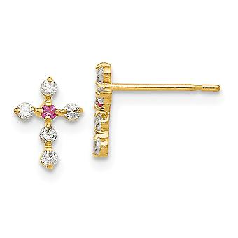 14k Yellow Gold Polished Madi K CZ Cubic Zirconia Simulated Diamond for boys or girls Religious Faith Cross Post Earring