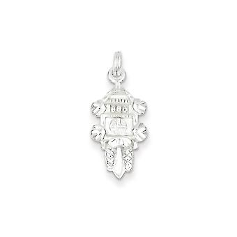 Sterling Silver Rhodium-plated Fancy Lobster Closure Polished Peace in Circle With Lobster Clasp Charm Measures 27x14mm