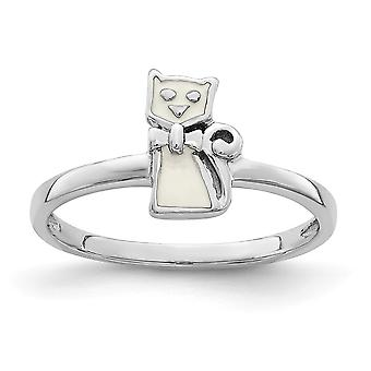 925 Sterling Silver Rhodium plated for boys or girls Enameled White Cat Ring - Ring Size: 3 to 4