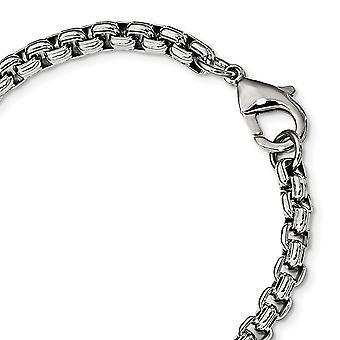 5.55mm acero inoxidable pulido caja de fantasía pulsera 8.25 pulgadas regalos de joyería para las mujeres