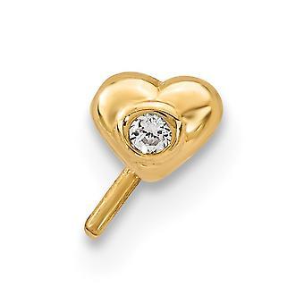 3,7 mm 14k CZ Zirkonia simuliert Diamant Liebe Herz Anhänger Halskette Nase Ohrstecker Schmuck Geschenke für Frauen