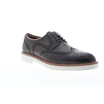 Zanzara Atomic  Mens Gray Leather Casual Lace Up Oxfords Shoes