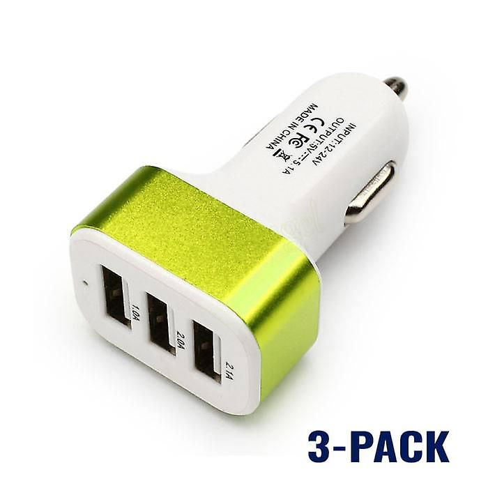 Stuff Certified® 3-Pack High Speed ??3-Port Charger / Carcharger Green