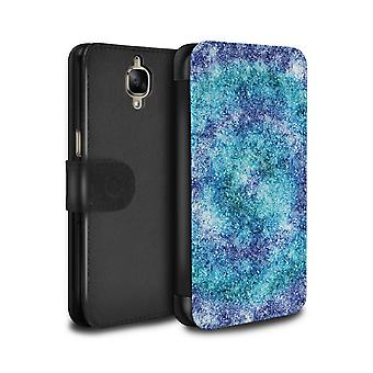 STUFF4 PU Leather Wallet Flip Case/Cover for OnePlus 3/3T/Bokeh Glitter/Focus/Teal Fashion