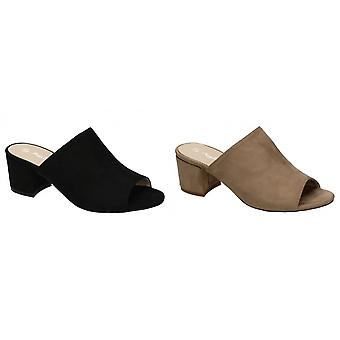 Anne Michelle Womens/Ladies Square Toe Microfibre Chunky High Heels