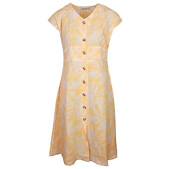 Alice Collins Yellow Button Up Capped Sleeve Linen Shirt Dress With Leaf Print
