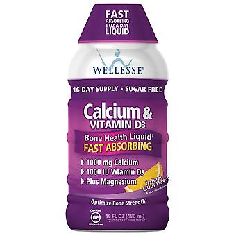 Wellesse calcium & vitamin d3, liquid, citrus, 16 oz