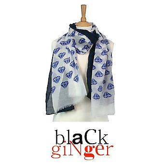 Black Ginger Twin Scarf Set [2] with Blue Sapphire Design (734-408)