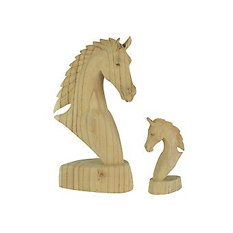 Mixed Pair of Hand Carved Wooden Natural Finish Horse Bust Tabletop Statues