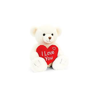 Keel Toys Cream Snuggles Bear With Heart