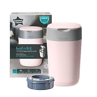 Tommee Tippee Twist & Click Nappy Disposal Tub Pink