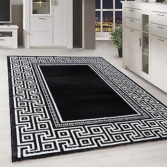 Moderno ShortFlower Rug Greek Pattern Border Living Room Black Mottled