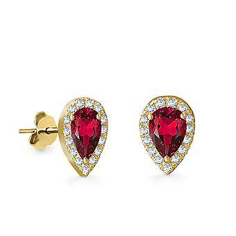 Earrings Empress Precious Stone,  18K Gold and Diamonds with Ruby | Emerald | Sapphire - Yellow Gold, Ruby