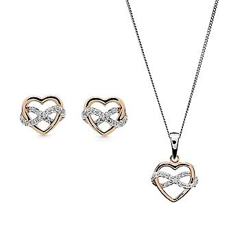 Orphelia Silver 925 Pendant and chain 45cm - Earring Bicolor Heart with Zirconium