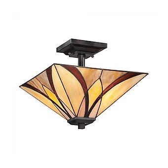 Asheville Ceiling Lamp, Bronze And Tiffany Glass