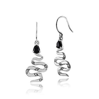 Art-Deco-Stil Birne schwarz Spinell & Marcasite Schlange Tropfen Ohrringe in 925 Sterling Silber 214E663902925