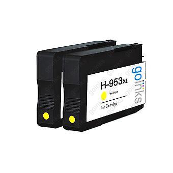 2 Go Musteet Keltainen Yhteensopiva tulostimen mustekasetit korvata HP 953Y (XL Kapasiteetti) Yhteensopiva / ei-OEM HP Officejet Tulostimet