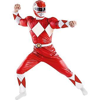 Röda Power Ranger Adult kostym