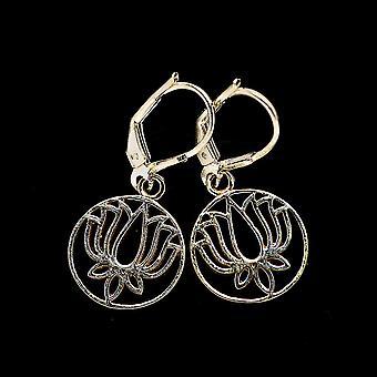 "Kaiverrettu Lotus korvakorut 1 1/4"" (925 Sterling Silver) - Käsintehty Boho Vintage korut EARR402823"