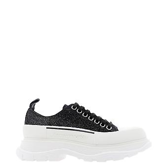Alexander Mcqueen 633902whw571027 Dames's Black Leather Sneakers