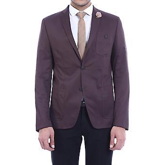 Mens brown slim fit cottom blazer