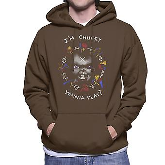 Chucky Im Chucky Wanna Play Quote Men's Hooded Sweatshirt