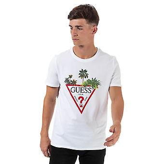 Men's Guess Palm Tree T-Shirt in White