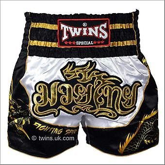 Twins special dragon muay thai shorts - black & white