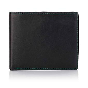 Green Label Luxury Black Leather Trifold Wallet