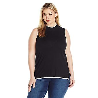 Jones New York Women's Plus Size Slvless Turtle Nk Tunic W/Contrast Trim, Black 1X