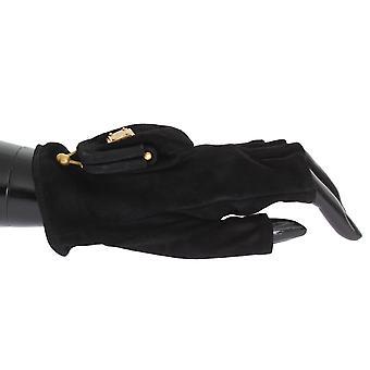 Black leather finger less wrist logo gloves