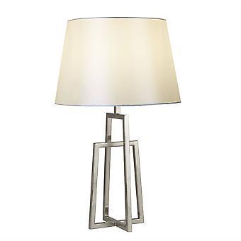 Searchlight York - 1 Light Table Lamp Satin Silver, White Shade, E27