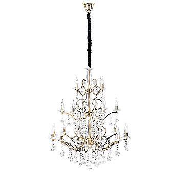 Lustre pendentif de plafond 3 palier 22 Lumière Français or, cristal (l'article exige l'assemblage)
