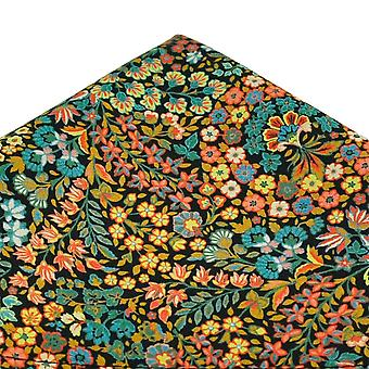Kravaty Planet Van Buck Navy Modrá Květinová Kapesní čtverec vyrobený s Liberty Fabric
