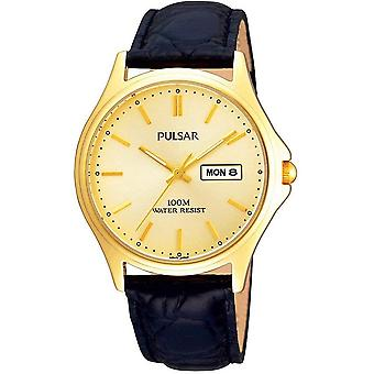 Pulsar Mens Gold Plated Champagne Dial Classic Leather Strap Watch (PXF296X1)