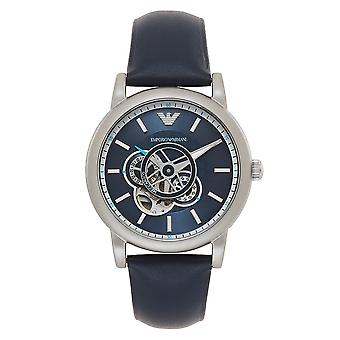 Orologio Armani Ar60011 Meccanico Blue & Silver Leather Automatic Men's