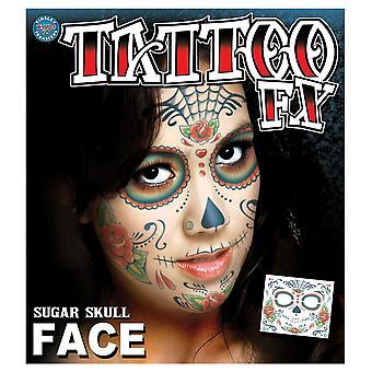 Tinsley Transfère tatouages visage (Sugar Skull Face)