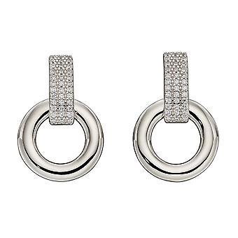 Fiorelli Silver Pave Organic Donut Hoop Earrings E5882C