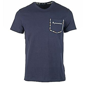 Aquascutum Check Trim Pocket Navy T-Shirt