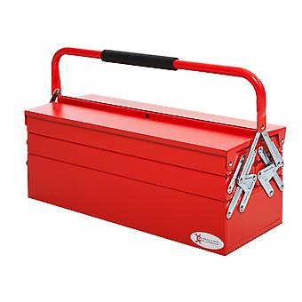 DURHAND Metal Tool Box 3 Tier 5 Tray Professional Portable Storage Cabinet Workshop Cantilever Toolbox with Carry Handle, 57cmx21cmx41cm, Red