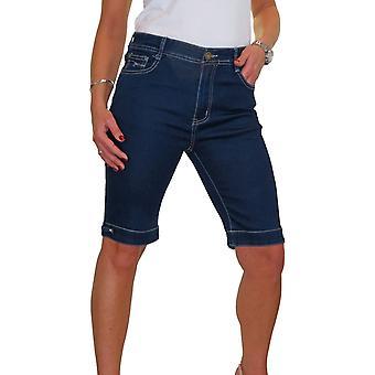 Pantalones cortos de mezclilla elásticos de señora estilo Bermuda con detalle Diamante en el manguito azul 10-24 (10)