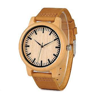 BOBO BIRD WA16 Simple Design Wooden Watch Genuine Leather Strap Quartz Watch
