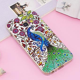 Voor Galaxy A3 (2017) Noctilucent IMD Peacock Patroon Soft TPU Back Case Protector Cover